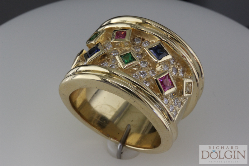 Multicolored Sapphires in Wide Band