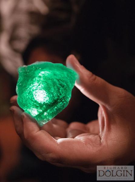 Rough uncut emerald