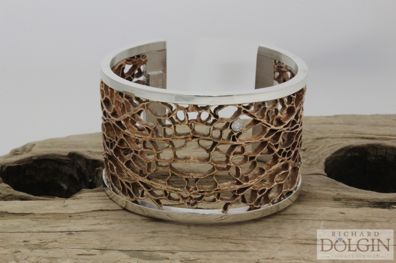 Cactus Pattern Bronze and Silver Bangle