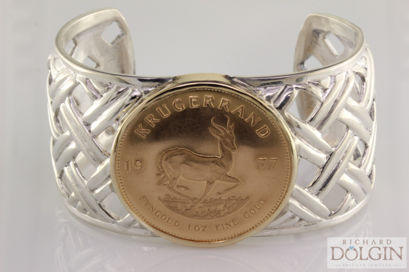 Custom Silver Bangle with Gold Coin