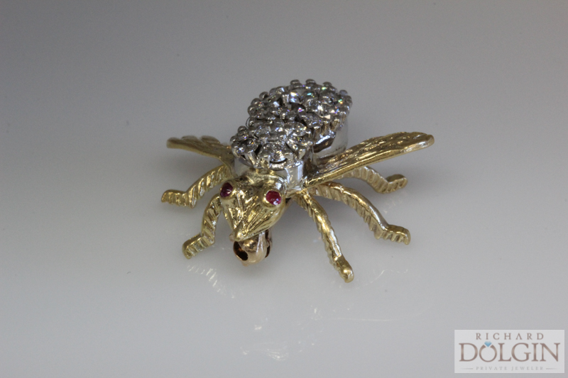 Yellow Gold Bee Pin with Ruby Eyes