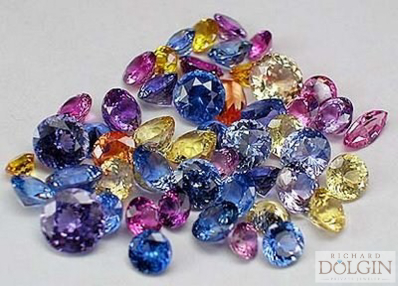 Sapphires of different colors and shapes