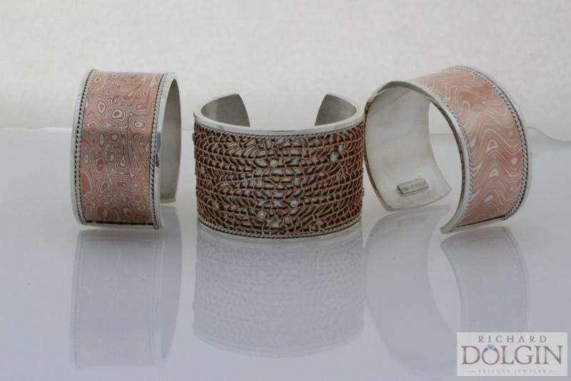 Mokume and bronze bracelet