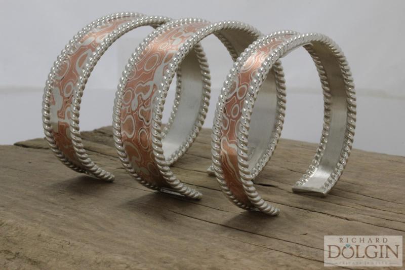 Mokume and silver bracelets