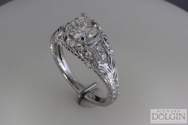 Diamond and platinum antique style ring