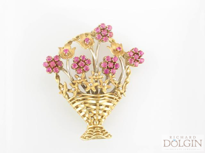 Antique flower basket pin