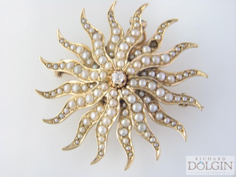 Pearl starburst pin