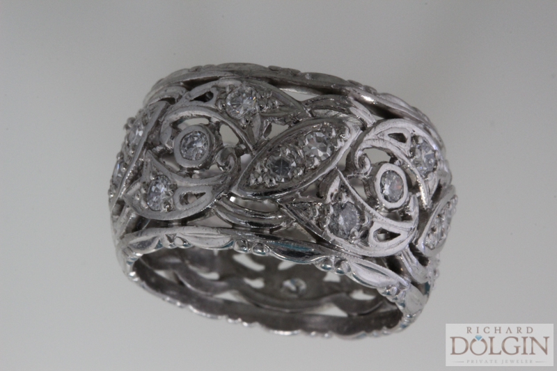 Antique platinum and diamond band
