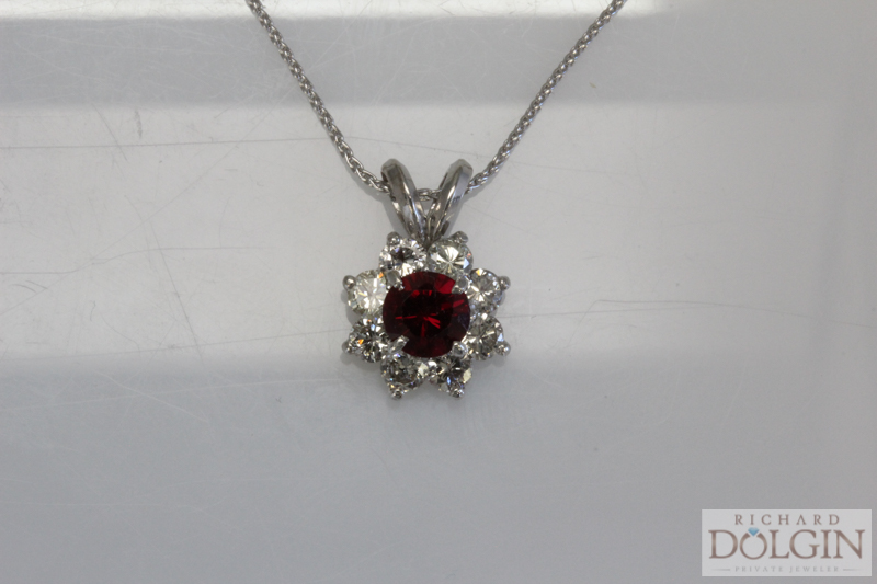 Chatham ruby and diamond pendant