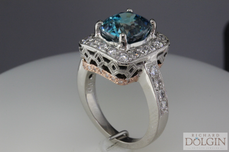 Custom made blue zircon ring