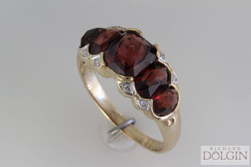Antique rhodolite garnet ring