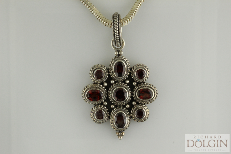 Rhodolite garnet, sterling silver fashion pendant