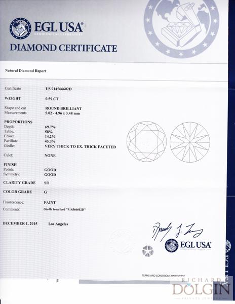 0.59 carat, G, SI1