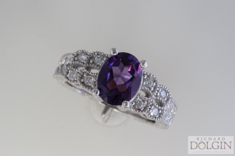 Amethyst and diamond ring