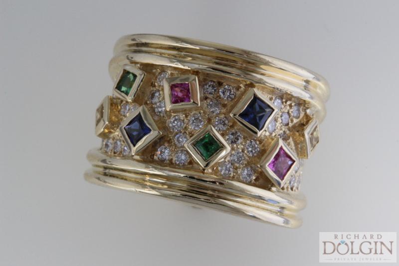 18k sapphire and diamond band