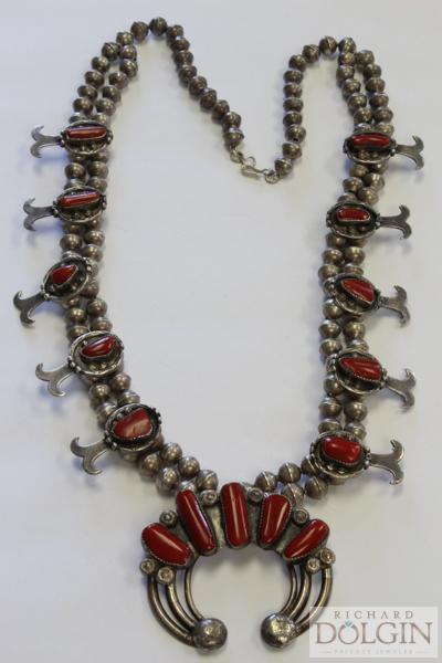 Squash blossom coral necklace
