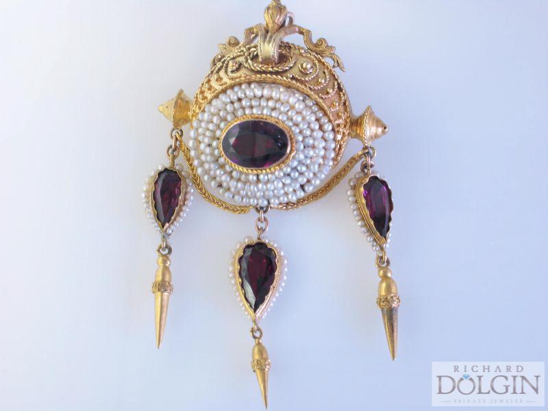Victorian garnet and pearl pin