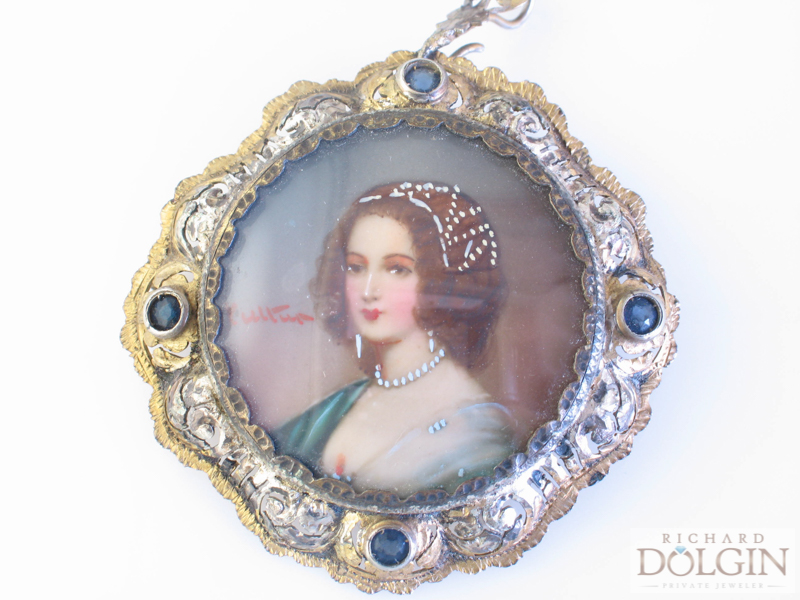 Victorian hand painted pin