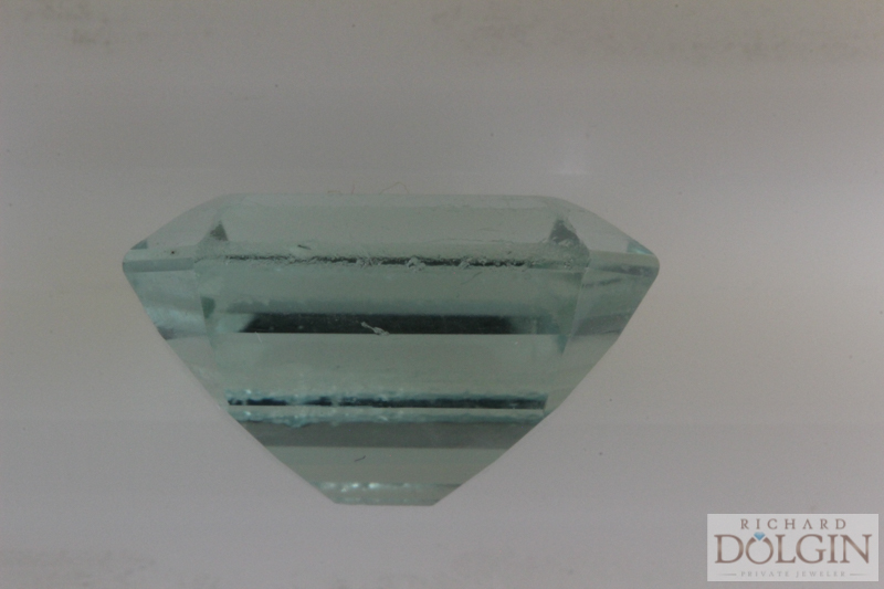 Emerald cut aquamarine before re-cutting