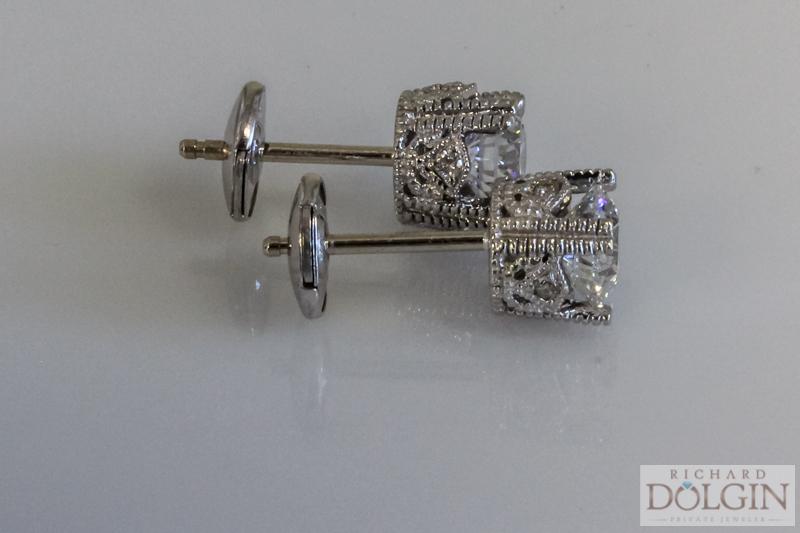 Fancy diamond solitaire earrings
