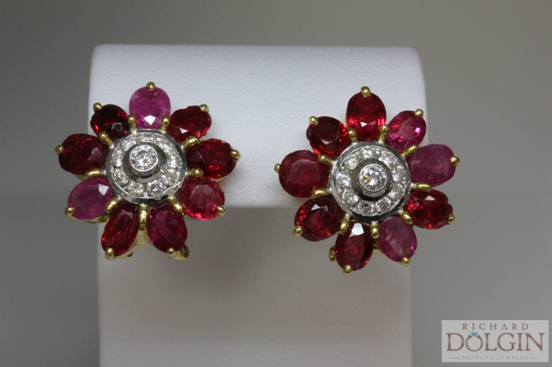 22k antique ruby and diamond flowers