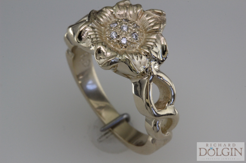 Sunflower engagement ring