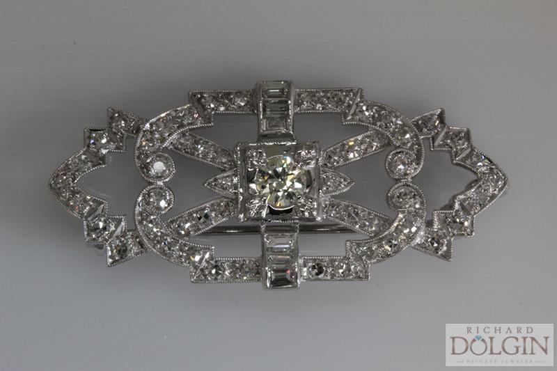 Antique platinum diamond pin
