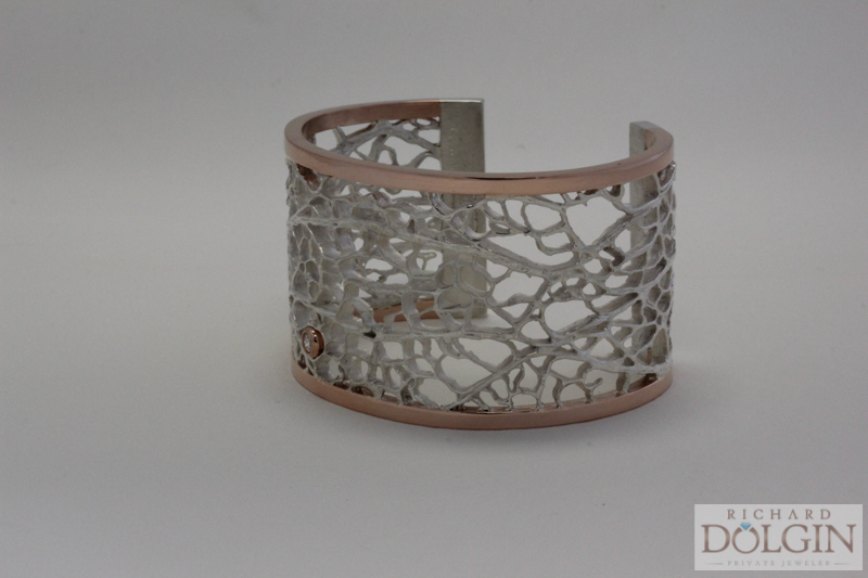 Rose gold and sterling cuff bracelet