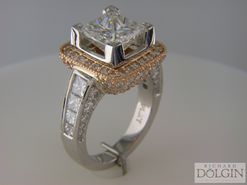 Custom made rose gold and platinum engagement ring