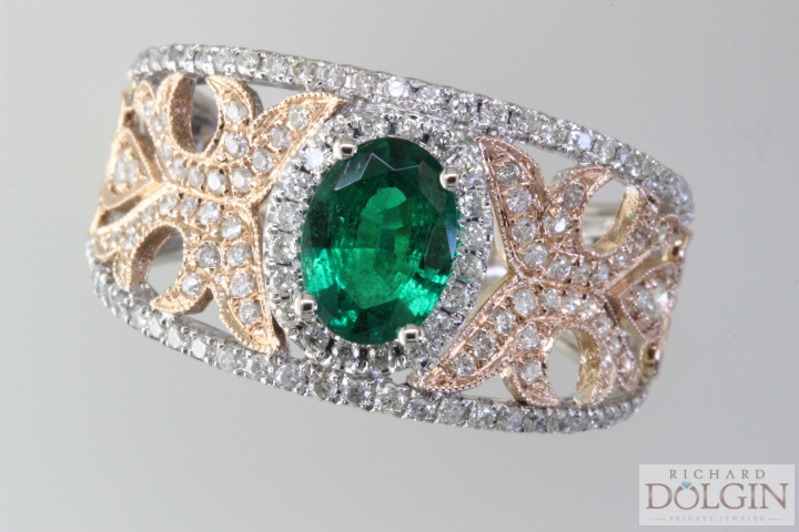 Filigree diamond and emerald engagement ring