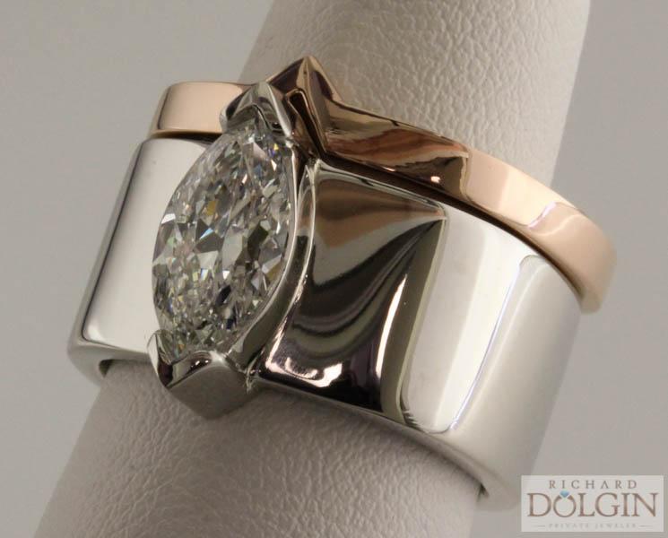 Finished platinum engagement ring