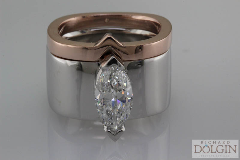 Custom engagement ring and band