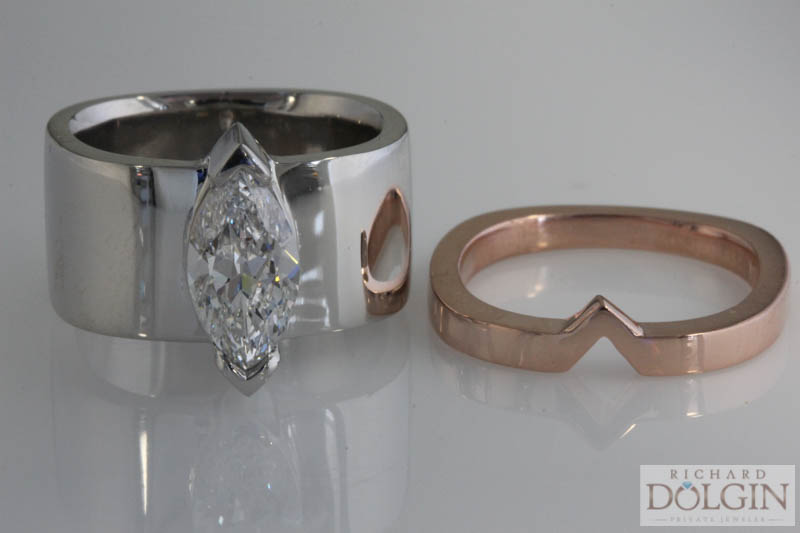 Platinum engagement ring and rose gold shadow band