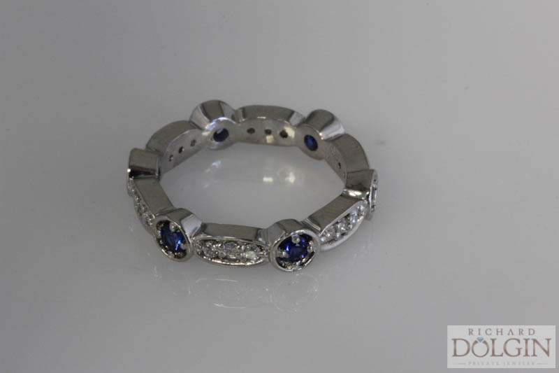Platinum sapphire and diamond eternity band
