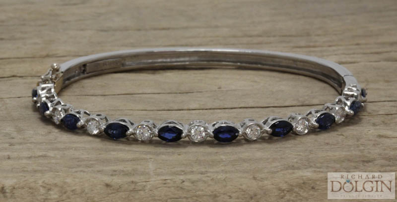 Sapphire and Diamond Hinged Bangle Bracelet