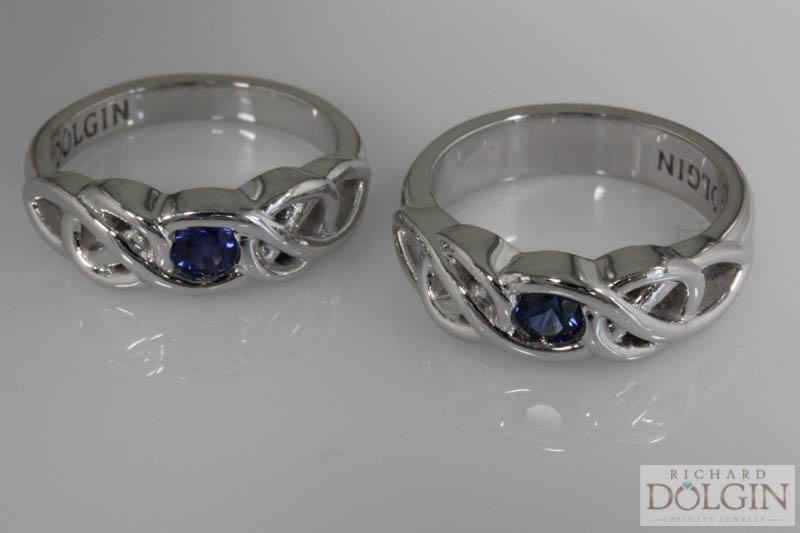 Matching sapphire wedding bands