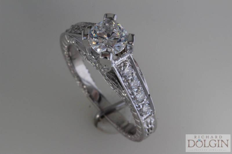 Bead set engagement ring