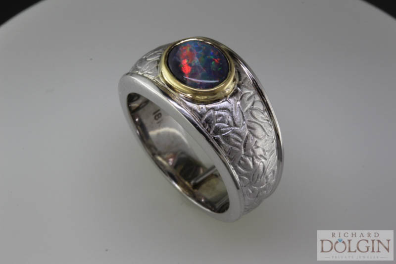 Black opal ladies ring