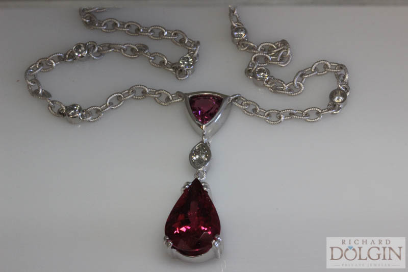 Pink tourmaline Y necklace