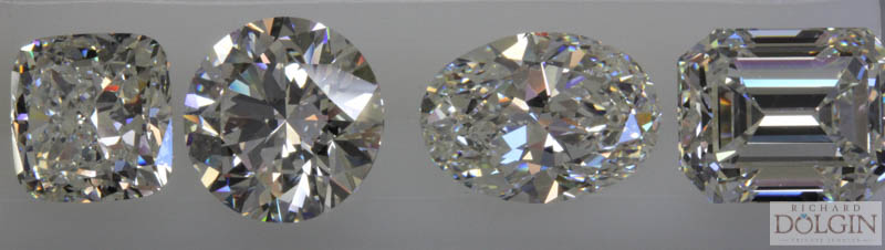 Our selection of large diamonds in many different shapes.