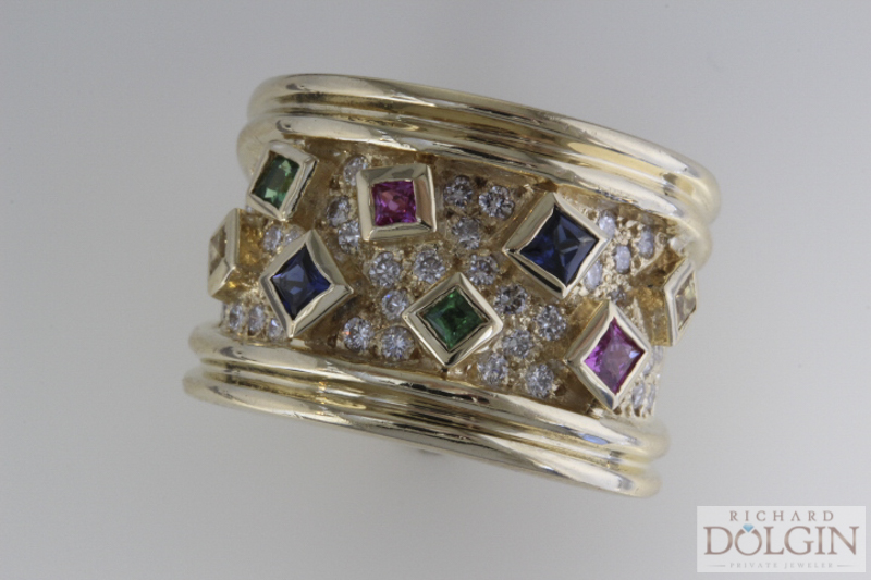18k band with pave diamonds and multicolored sapphires