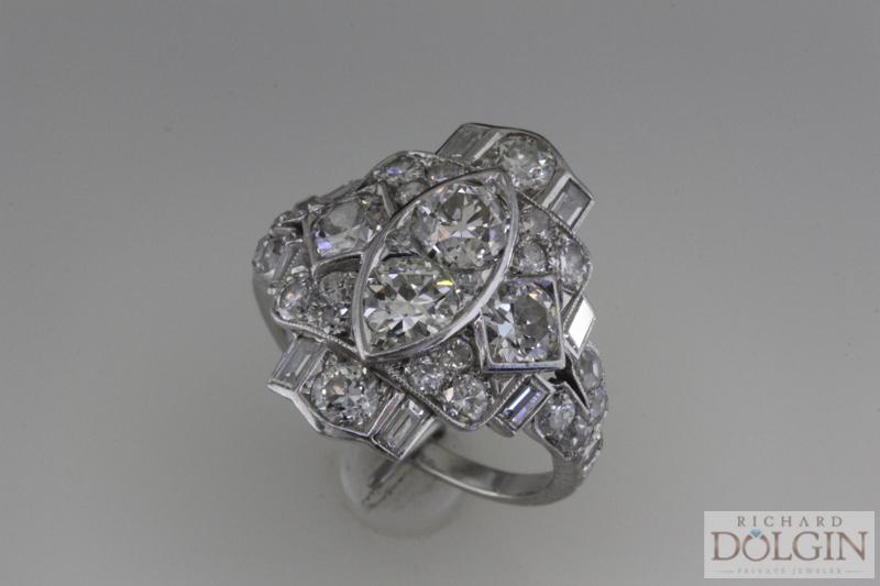 Gorgeous platinum antique diamond ring