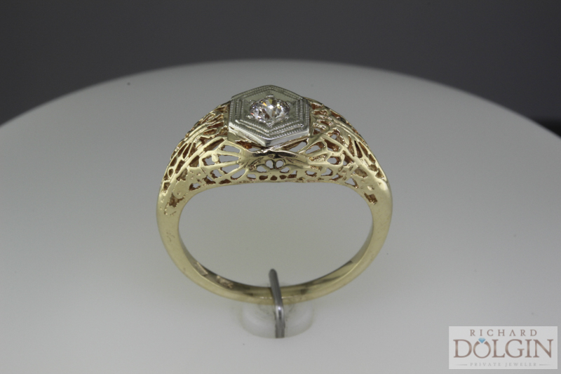Antique yellow gold filigree ring