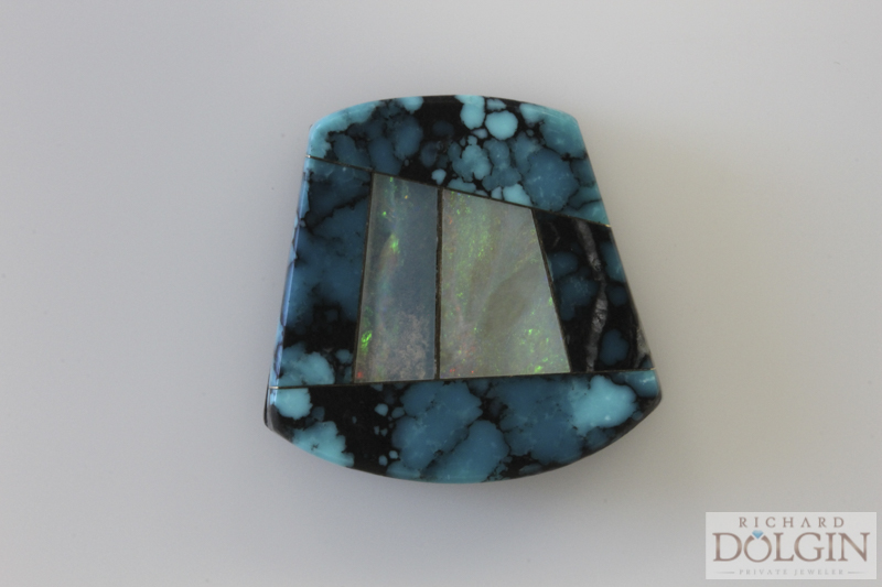 Intarsia mosaic inlaid gemstones