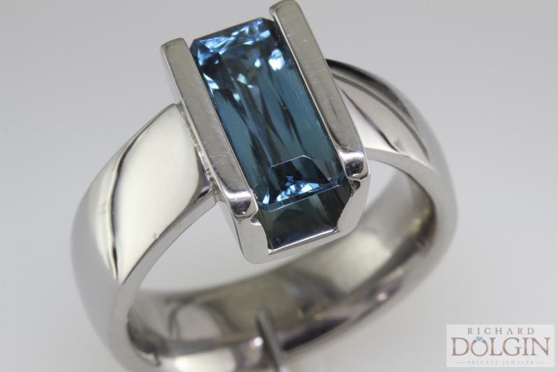 Emeral cut blue zircon ring