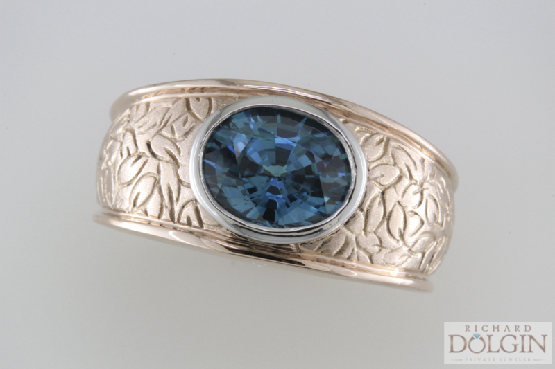 Blue zircon ring in rose gold