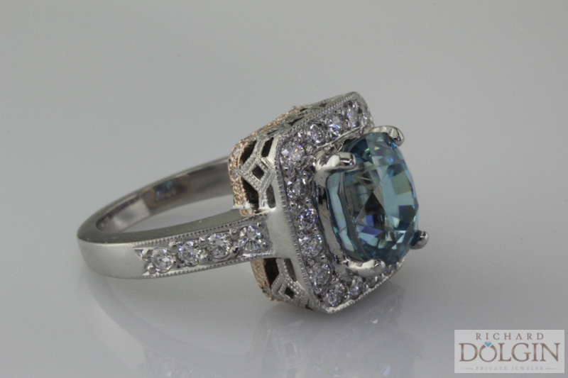 Blue zircon custom made ring