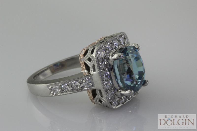 Blue zircon custom made ring