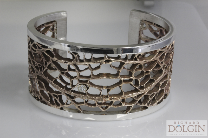 Cactus bronze and sterling silver bracelet