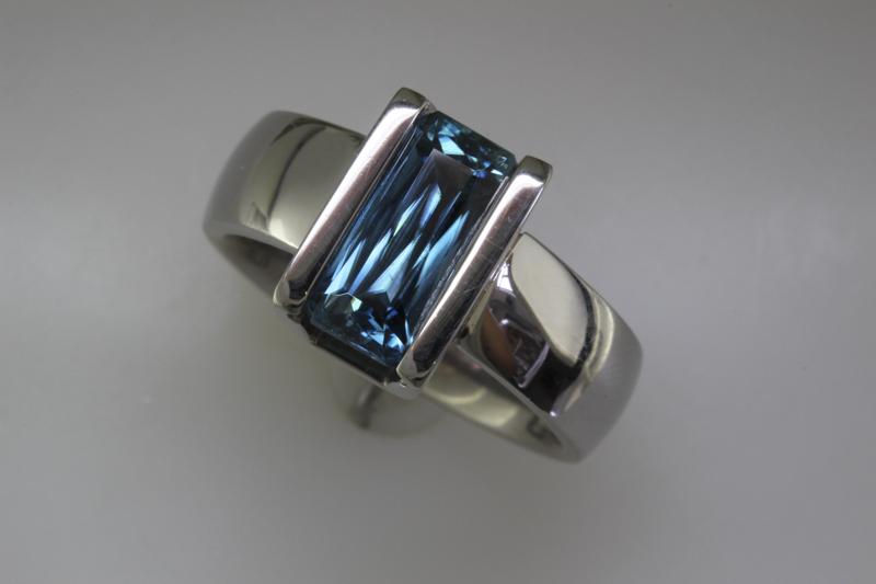 Blue zircon scissor cut ring